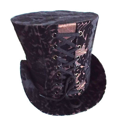 Steampunk High Top Hat in Brown with Black Flocking Design  (Flocked Top Hat)