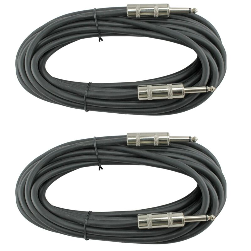 2 Pack 50FT 50 FT Feet PA Pro Audio DJ SPEAKER Cables CORDS 1/4 ENDS 16GA Guage