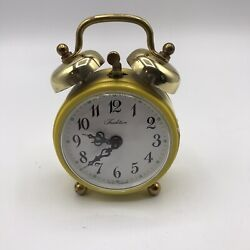 Yellow Small Retro Alarm Clock Wind-up Mechanical Bell Loud Ticking Travel Fun