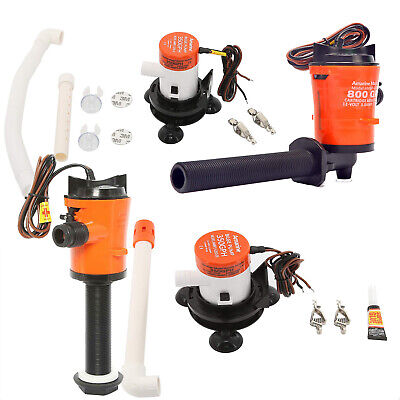12V 800GPH & 350GPH Portable Boat Aerating Cartridge Livewell Baitwell Pump Kit 350 Gph Pump Kit