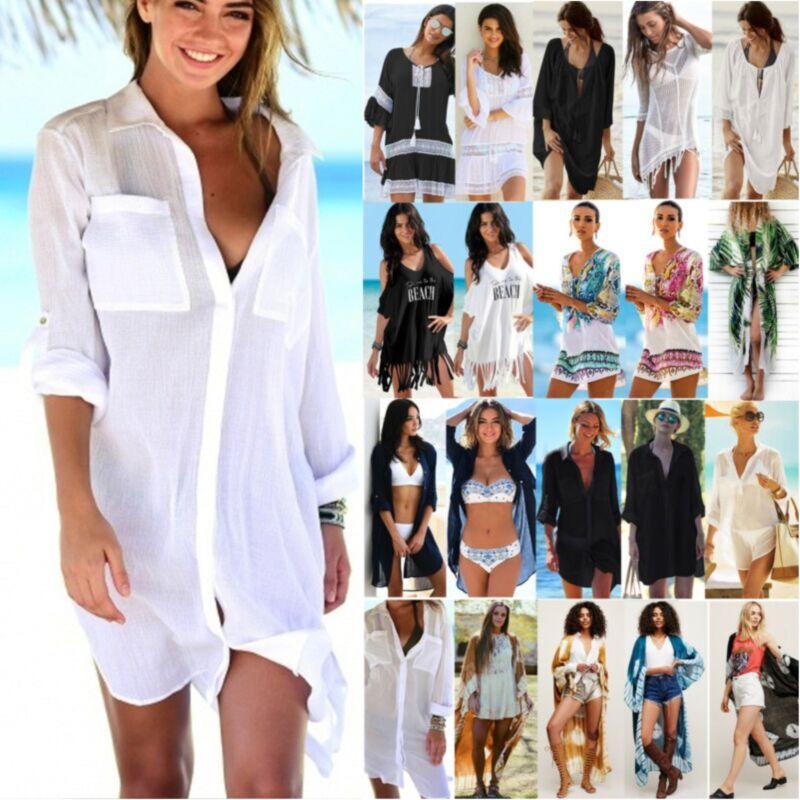 Sexy Damen Bikini Cover Up Vertuschung Strand Kaftan Minikleid Boho Bademode Top