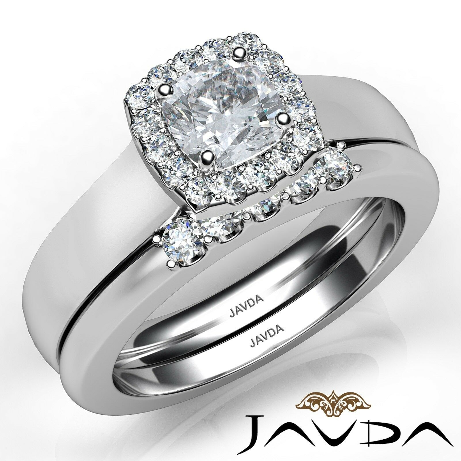 1.04ctw Solitaire Halo Bridal Cushion Diamond Engagement Ring GIA H-VS2 W Gold 1