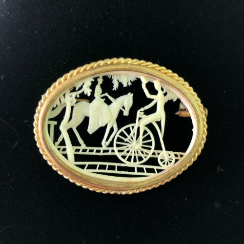 Vintage Victorian Depose France Celluloid Horse Bicycle Trombone Clasp Brooch