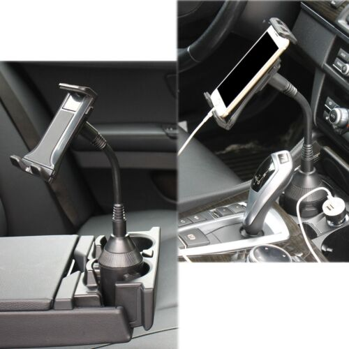 """Adjustable Car Cup Holder Mount for 4.7""""~ 10"""" Phone iPads Tablets with USB Power"""