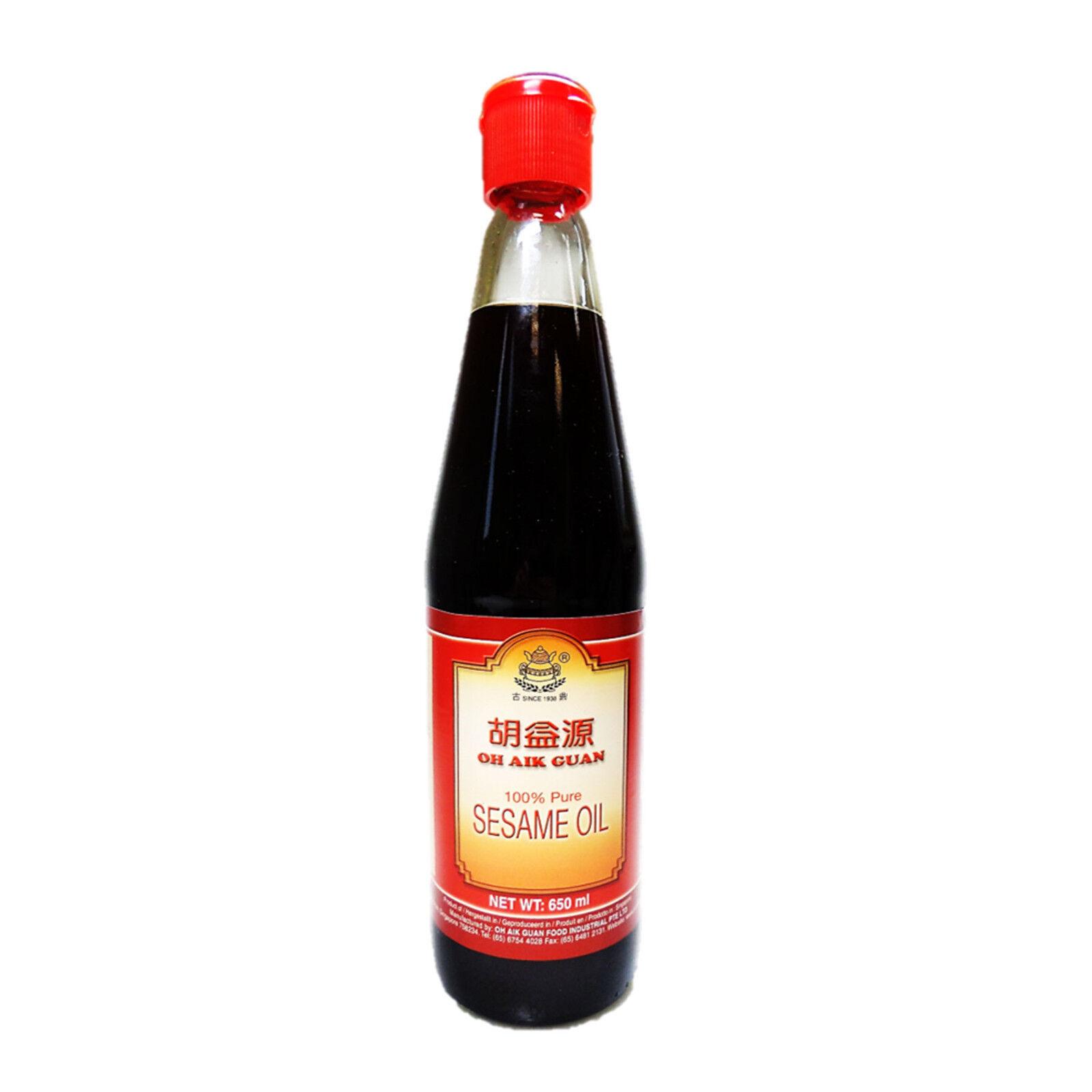2 x 650ml 100% Sesamöl Sesam Öl aus gerösteten Sesamsamen Oh Aik Guan Sesame Oil