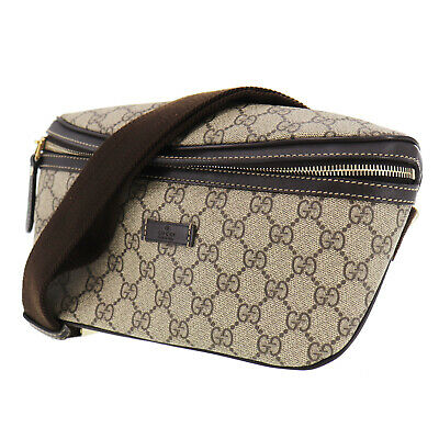 GUCCI GG Plus Fanny Pack Brown PVC Leather Italy Vintage Authentic #SS123 Y