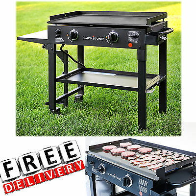 Outdoor Gas Grill Flat Top 2 Burner Portable Griddle Propane Stainless Steel New