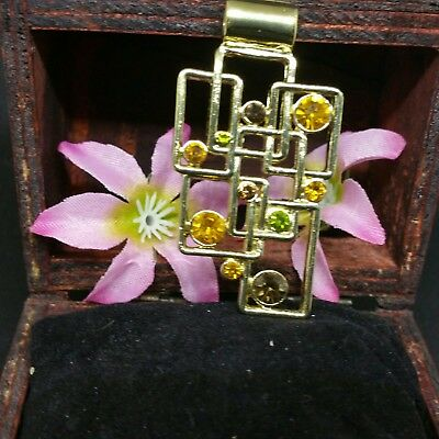 Lia Sophia Jigsaw Slide Pendant Polished Gold And Cut Crystals