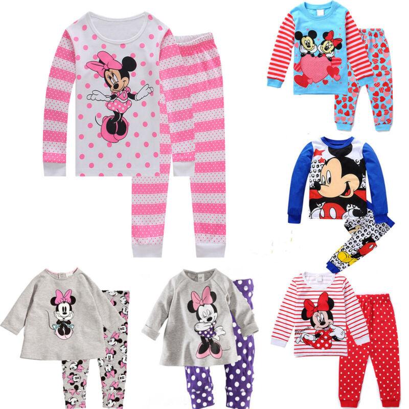 Mädchen Jungen Kinder Mickey Minnie Mouse Schlafanzug Pyjama Nachtwäsche Outwear