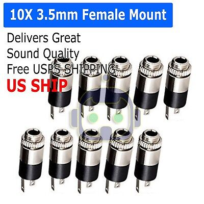 - 10PCS 3.5mm Female Stereo Audio Jack Connector panel mount US Stock