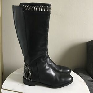 Vera Gomma Leather Studded Tall Boots Size 40