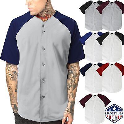 Baseball Button Down Jersey (Mens Raglan Baseball Jersey Button Down Tee Sport Fit Two Tone Team Hip Hop )