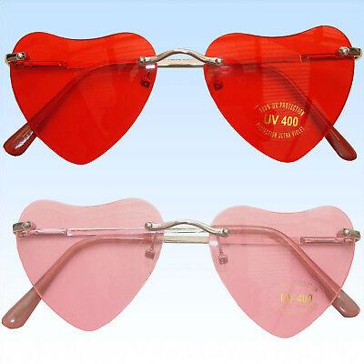 Rosa Herzen Sonnenbrillen (Randlose Herzbrille Brille in Herzform Rosa Rot Unisex Valentinstag Liebesbrille)