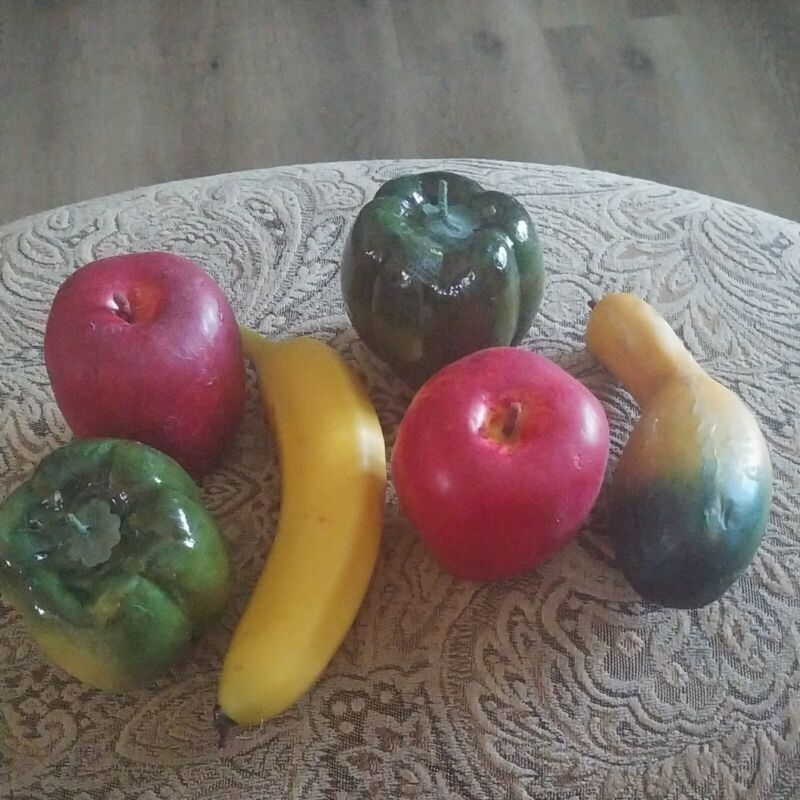 Lot of 6 Fake Artificial Faux Plastic/wax Fruit . Banana, peppers,squash apples.