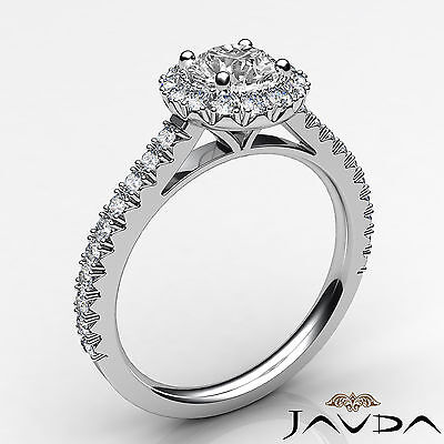 Halo French V Pave Women's Round Diamond Engagement Ring GIA E Color VVS2 1.71Ct 1