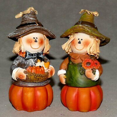 THANKSGIVING Figurine Ceramic HALLOWEEN FARMER Girls PUMPKIN Lot of 2 USA SELLER