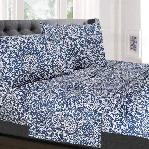 Oasis Blue Mandala Printed 4-Piece 1800 Thread Count Sheet Set Bedding