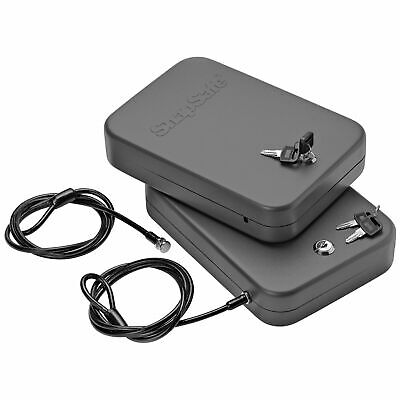 Safe Key Switch Lock Box Portable Cabled Security Storage Pack Of 2 Travel Case