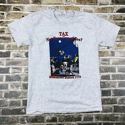 Vintage Tea Party (Vintage Boston Tea Party Tax Remember 1773 T Shirt USA 50/50 Single Stitch)