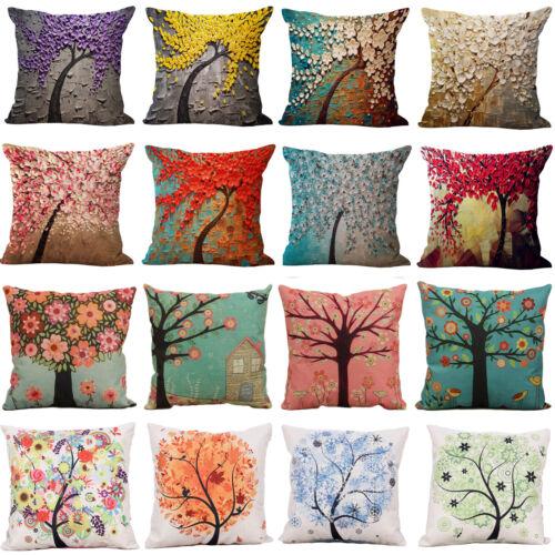 Vintage Floral Pillows Case Throw Cotton Linen Cushion Cover