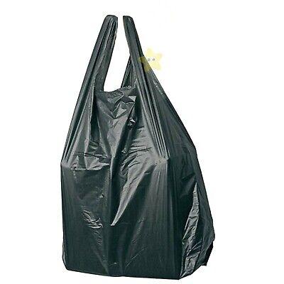 1000 x BLACK PLASTIC VEST CARRIER BAGS 8x3x17