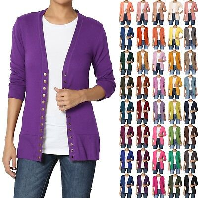 - TheMogan Women & Plus Classic Snap Button Front V-Neck 3/4 Sleeve Knit Cardigan