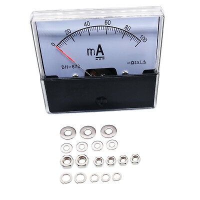US Stock Analog Panel AMP Current Ammeter Meter Gauge DH-670 0-100mA DC (Analog Amp Panel Meter)