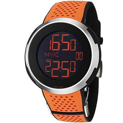 Gucci Men's Sport XXL Black Digital Dial Orange Rubber Strap Watch YA114104