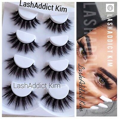 6750f369f29 4 Pairs Top 3D 100% Mink Soft Long Thick Makeup Eye Lashes False Eyelashes