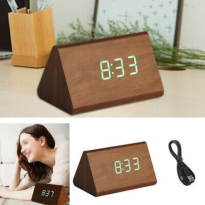 Holz LED Digital Wecker Tischuhr Uhr Kabellos Thermometer Kalender Alarm Snooze (Digitale Tischuhr)