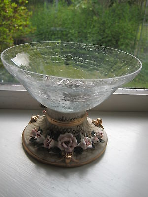 Footed Crackled Glass Fruit Potpourri Bowl Centerpiece Floral