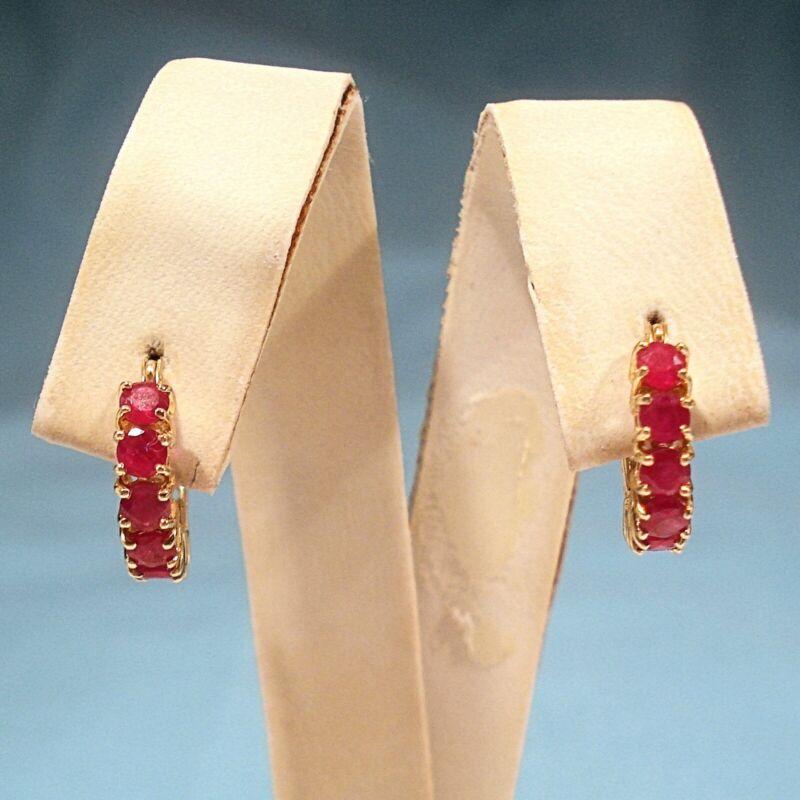 SOLID 14K YELLOW GOLD & RUBIES HOOP EARRINGS FOR PIERCED EARS