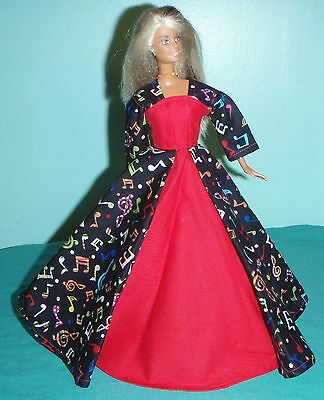 Music Notes Gown in Black and Red to wear Back to School for Barbie Doll - Clothes To Wear To School
