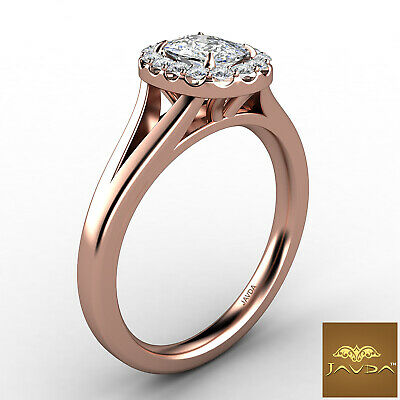 Halo Split Shank French U Pave Cushion Diamond Engagement Ring GIA G VS1 0.7 Ct 10
