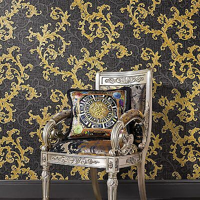 VERSACE BAROQUE FLORAL TRAIL LUXURY WALLPAPER - BLACK AND GOLD - 96231-6