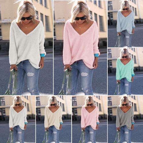 Damen V-Ausschnitt Langarm Strickpullover Sweater Pulli Bluse Lose Top Übergröße