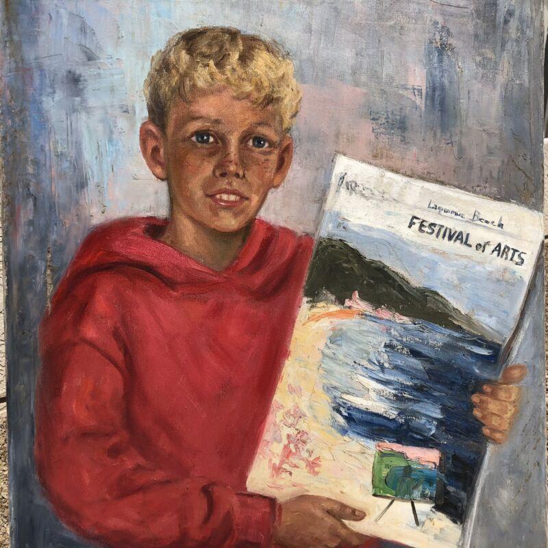 Vintage Laguna Beach Festival of Arts Oil Painting B. McCulley Movie Star Artist