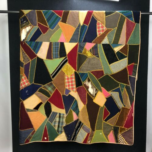 "GORGEOUS Vintage Antique Crazy Quilt Blanket Throw Historical VTG Fabric 79"""