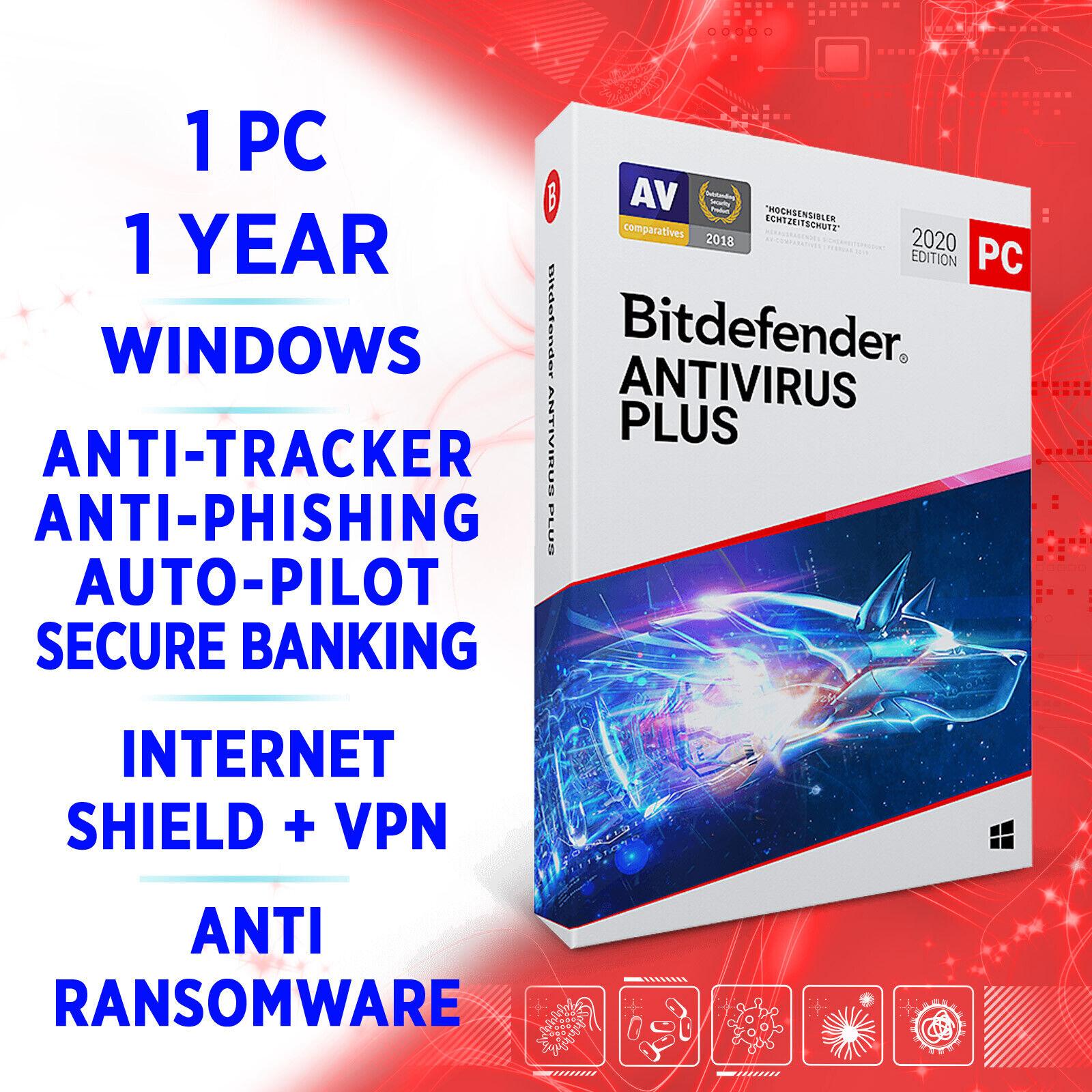 ⭐Bitdefender Antivirus Plus 2020 1 PC 1 Jahr, AktivierungsKEY, VOLLVERSION +VPN