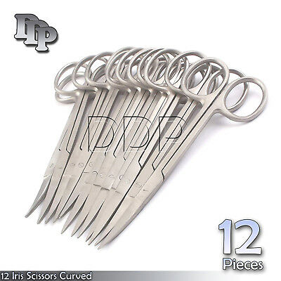 12 Iris Scissors 4.5 Curved Surgical Dental Instruments