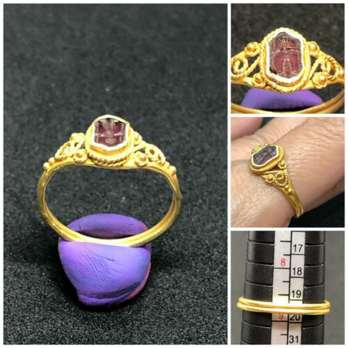 (2.29g)Antique Ring 18K Gold Wonderful Carving Prince Old Ruby grade museum Rare