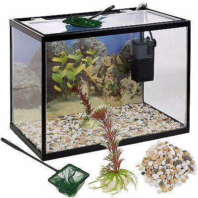18 Litre Glass Aquarium Fish Tank Starter Kit Set Filter Pump Net Plant Stones