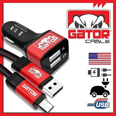 Micro USB Cable +Dual 2Port Car Charger Samsung S3 S4 S6 HTC Android LG Sony 6FT ()