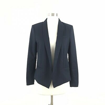 H&M Womens Size 10 Blazer Navy Blue Open Front Collared Long Sleeve