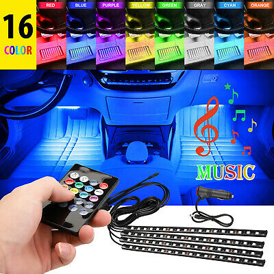 72 LED 4PCS Car Interior Atmosphere Neon Lights Strip Music Control + IR Remote