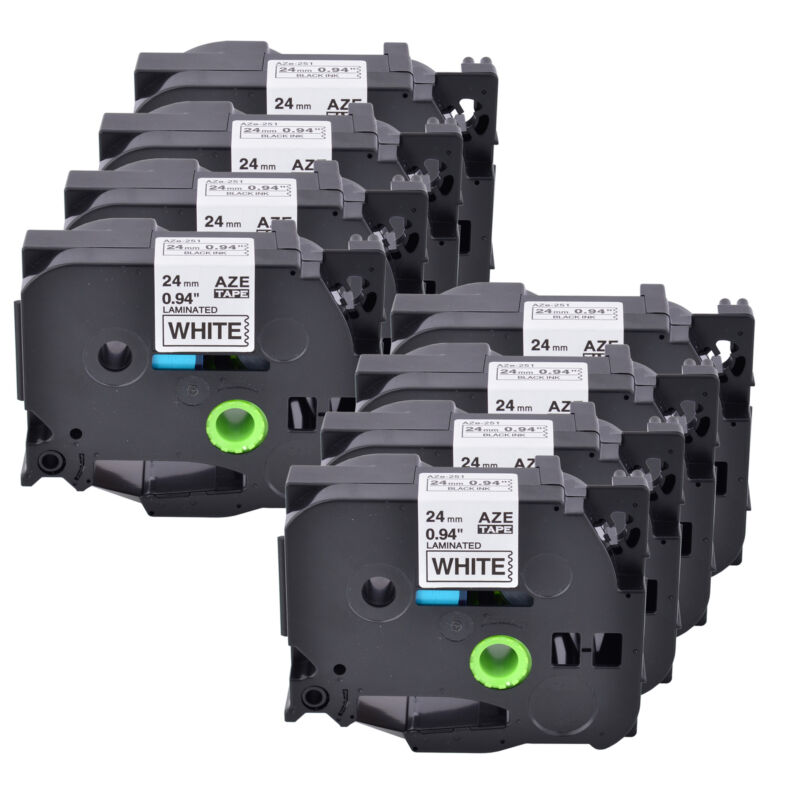 "8PK TZ251 TZe251 Black on White Label Tape For Brother P-touch PT-H500LI 24mm 1"""