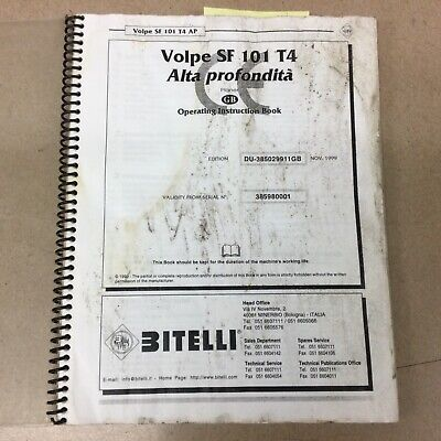 Bitelli Volpe Sf 101 T4 Operation Maintenance Manual Milling Machine Cold Planer