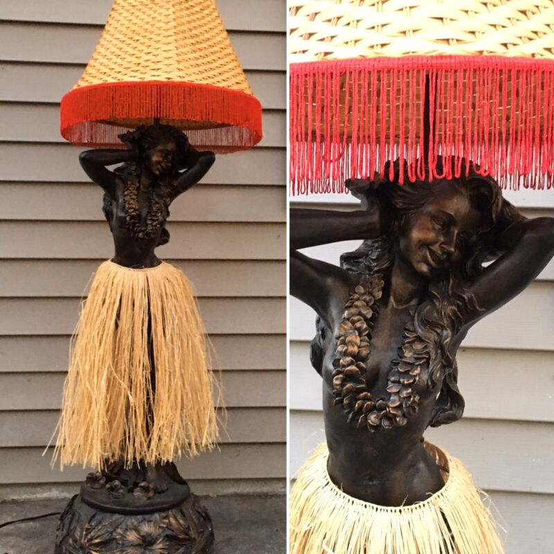 """Dancing Motion Hula Girl Floor Lamp W/ Fringe Shade Hawaiian Kitsch 52"""""""