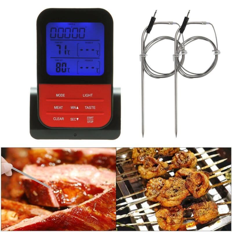 Digital Bratenthermometer Funk Grillthermometer Fleischthermometer + 2 Fühler DE
