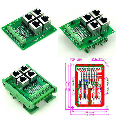 RJ50 10P10C 4-Way Buss Breakout Board Interface Module, Terminal Block Connector